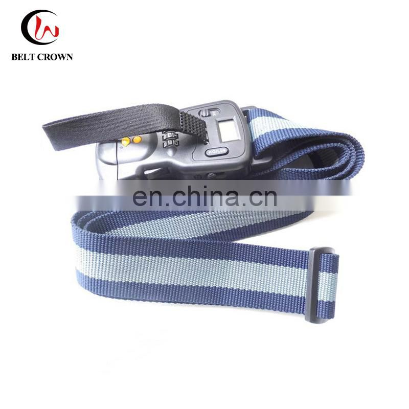 Travel accessories cutom logo polyester woven luggage bag strap with plastic belt buckle