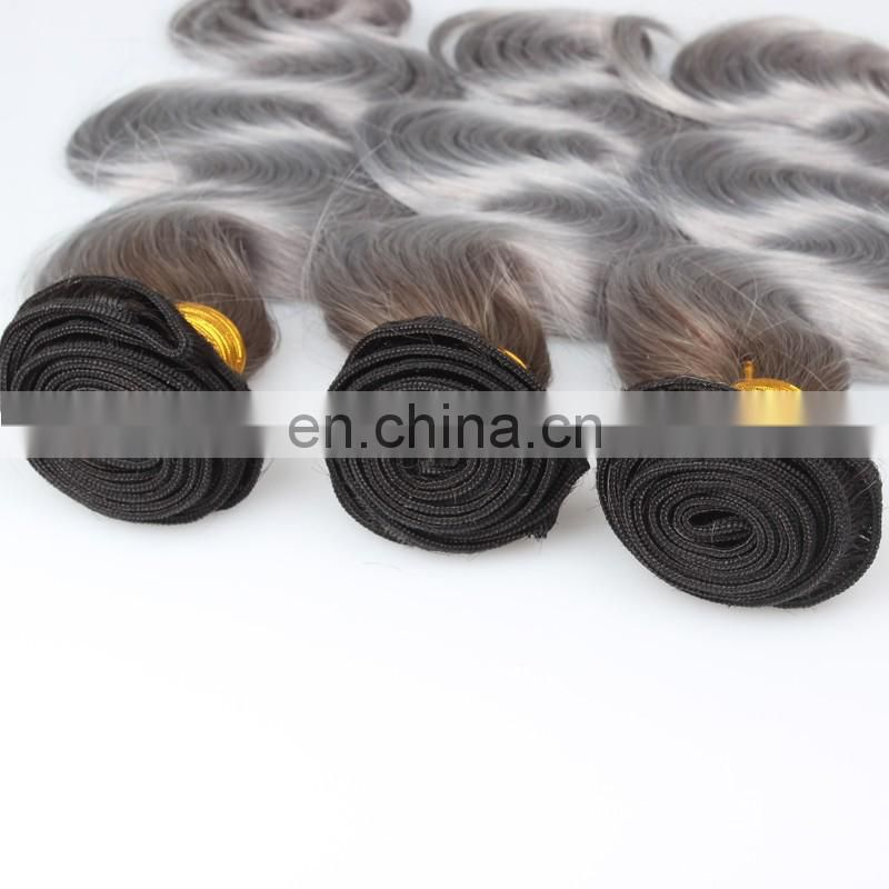 Aliexpress wholesale ombre color human hair weaving color 1B#/grey body wave hair extension remy brazilian hair