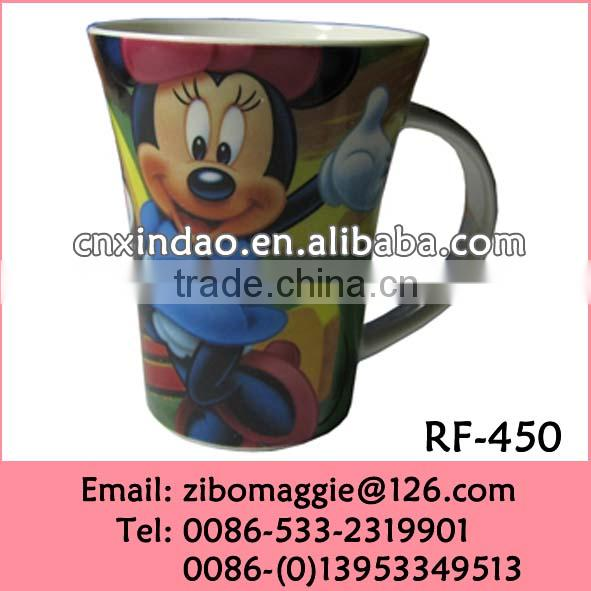 Flare Shape Hot Sale Ceramic Water Cups Wholesale for Kids witn Cartoon Printing for Promotion