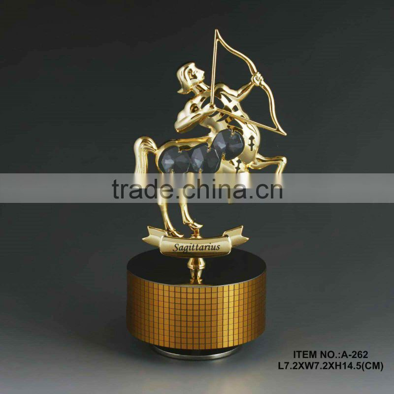 24k gold plated capricom music box with swarovski elements