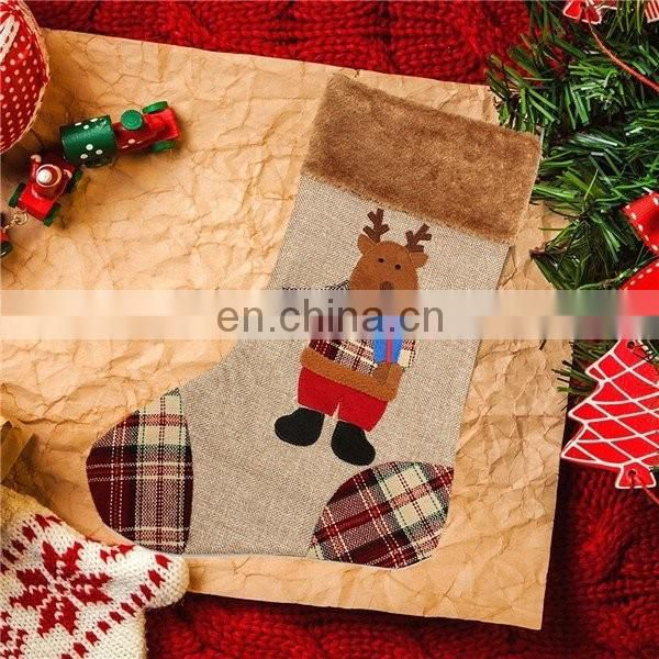 Burlap Canvas Christmas Stocking Christmas Gift Bag