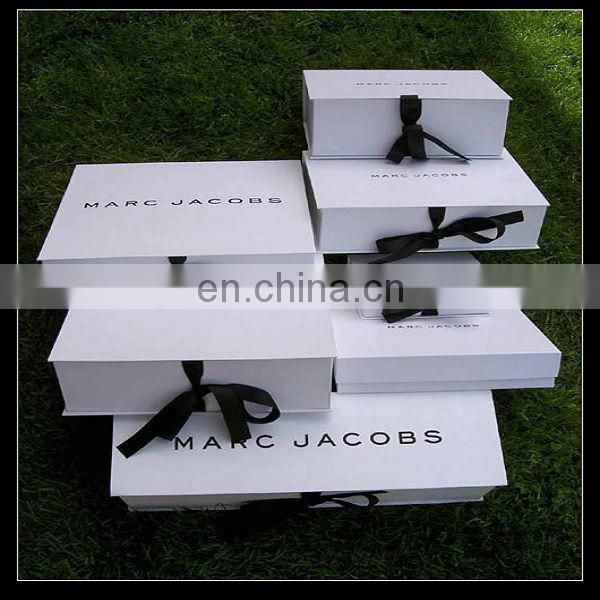 Plain Recycled Cardboard Made Tie And Cufflinks Ribbon Design Gift Box
