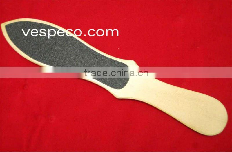 Wooden foot file double ended