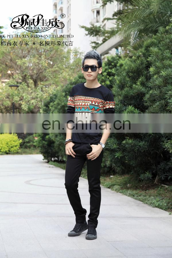 Peijiaxin Fashion Design Casual Style Joggled Men's Long Sleeve Tshirt