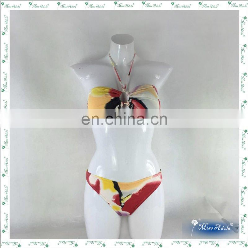 MissAdola bikini swimwea brazilian two pieces digital print sling swim garment illusion sexy classic woman bathing suit(REF-06)