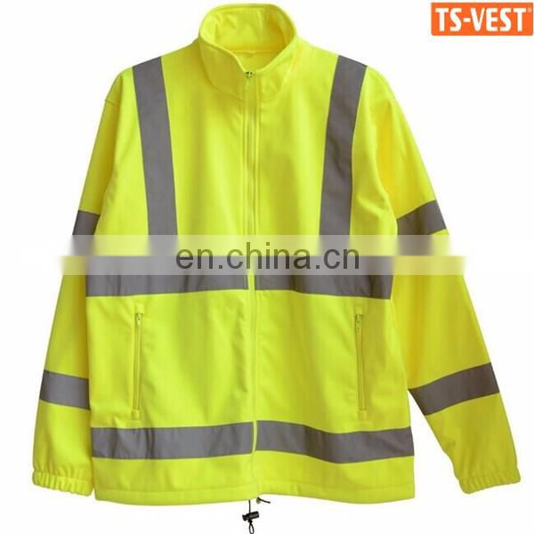 Hot selling skin-friendly Polar fleece fluorescent yellow reflective jacket