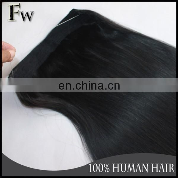 Wholesale price human hair top quality malaysian virgin halo human hair extensions
