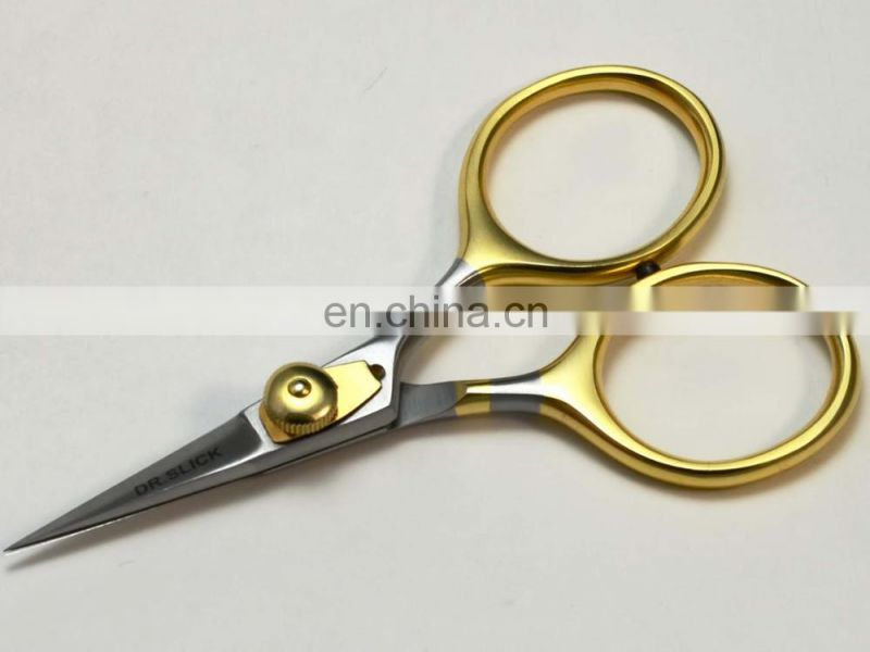 Fly Tying Scissors Premium 4 Inch Adjustable Tension Razor Straight Gold