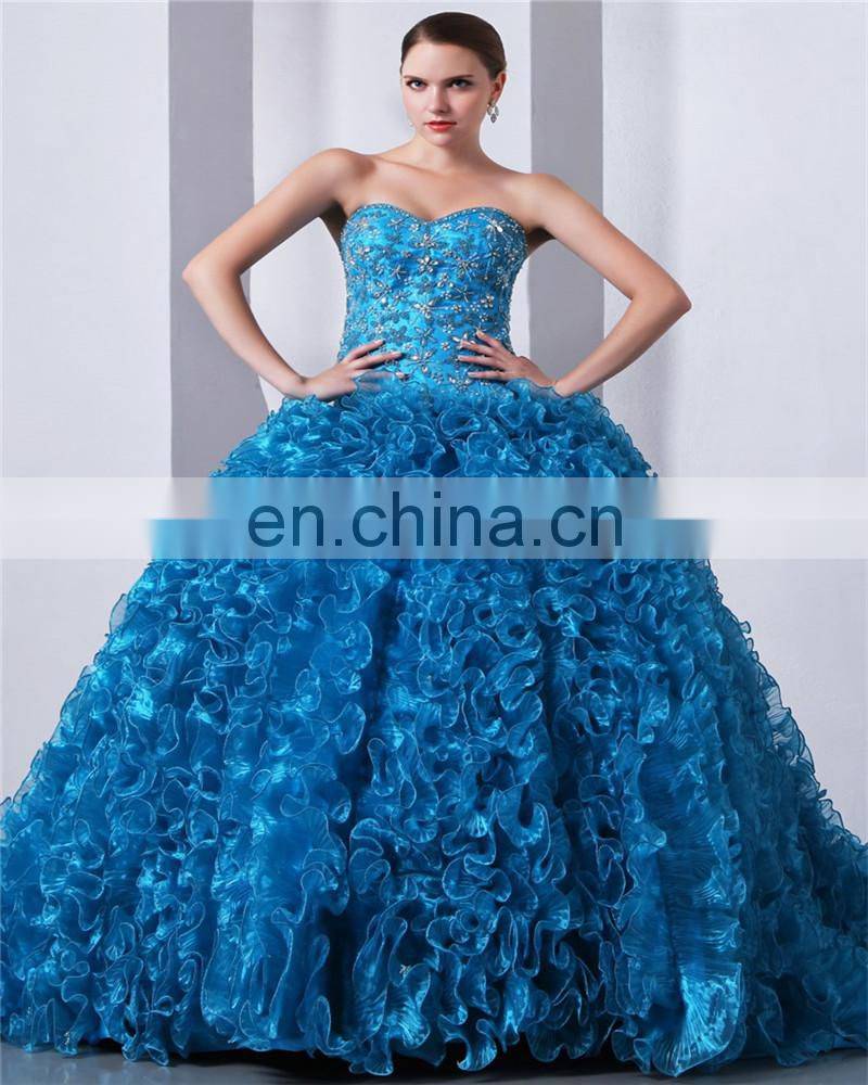 557f01a2fdc Product Description. Blue Sweetheart Sleeveless Sweep Train Lace-up Evening  Gowns Piping Beaded Quinceaneras Dress