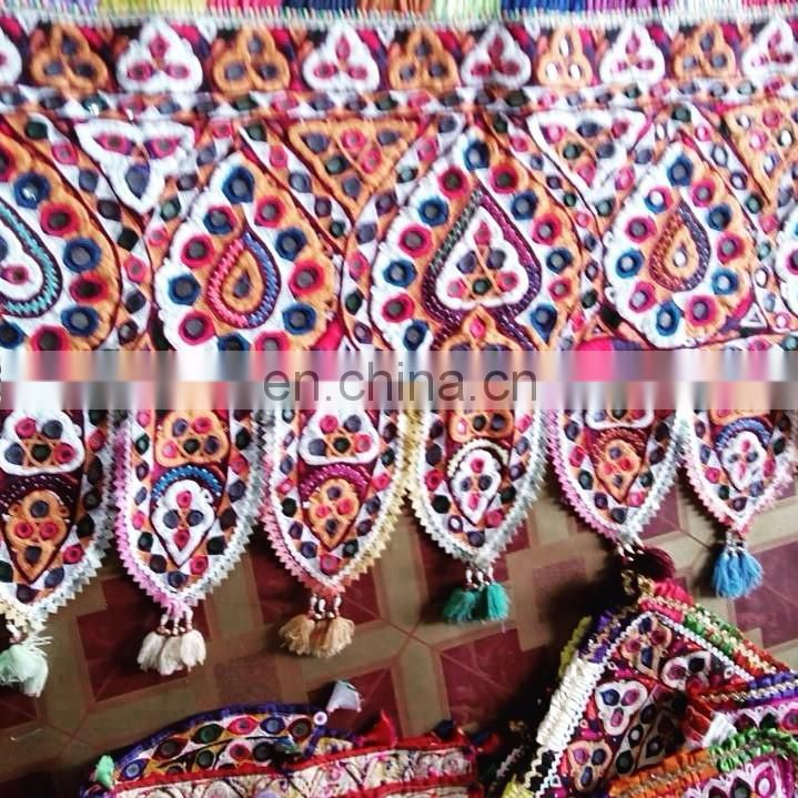 Indian banjara hand embroidery mirror work yoke Neck- Indian Banjara Cotton Neck Yoke