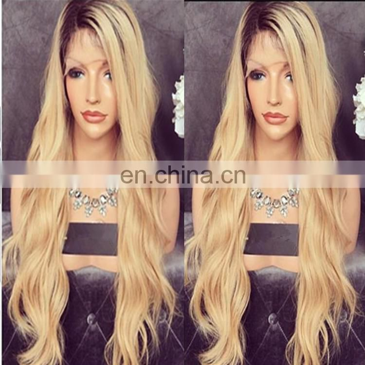 Blonde Two Tone Ombre Lace Front Wigs Honey Blonde Wavy Human Hair Wigs Bleached Knots 1BT 27# hair color