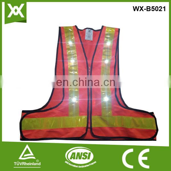 CE fabric 14/16 led lights flashing many colors reflective recharge LED safety jacket