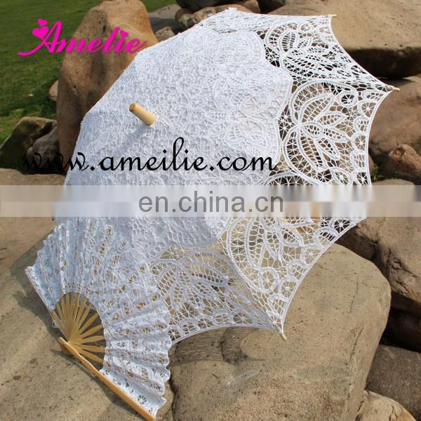 Handmade 100% Cotton Battenburg Lace Hand Fan Classic White Lace Fan with Lace Cover Bag Wedding Costume Party