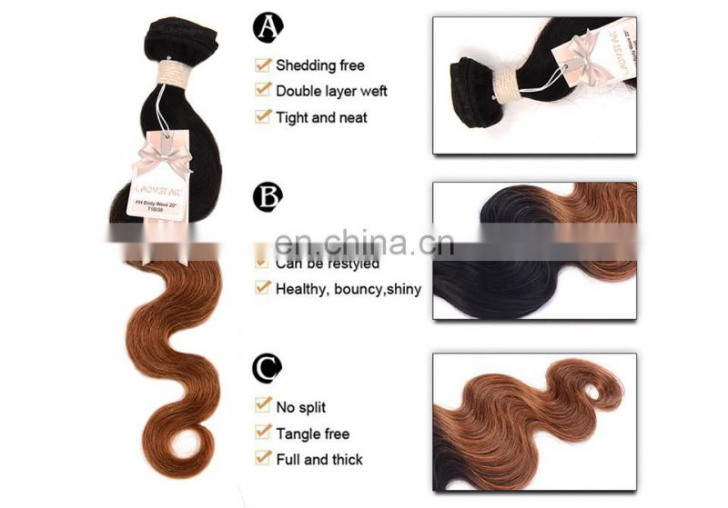 cheap ombre hair extension ombre color 1b/30 hair extension human hair brazilian large in stock