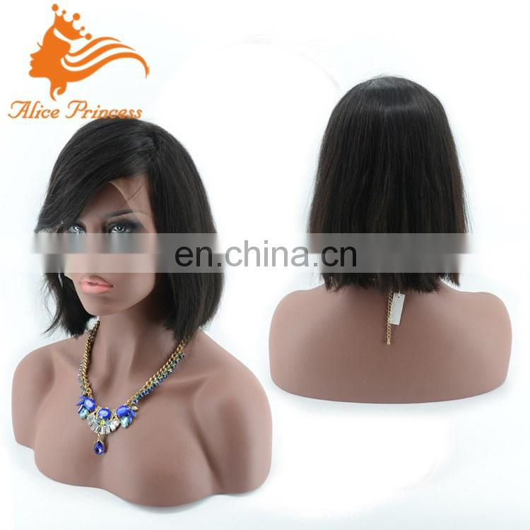 Factory Supply Top Grade Natural Hair Hand Made Short Virgin Indian Lace Front Wigs
