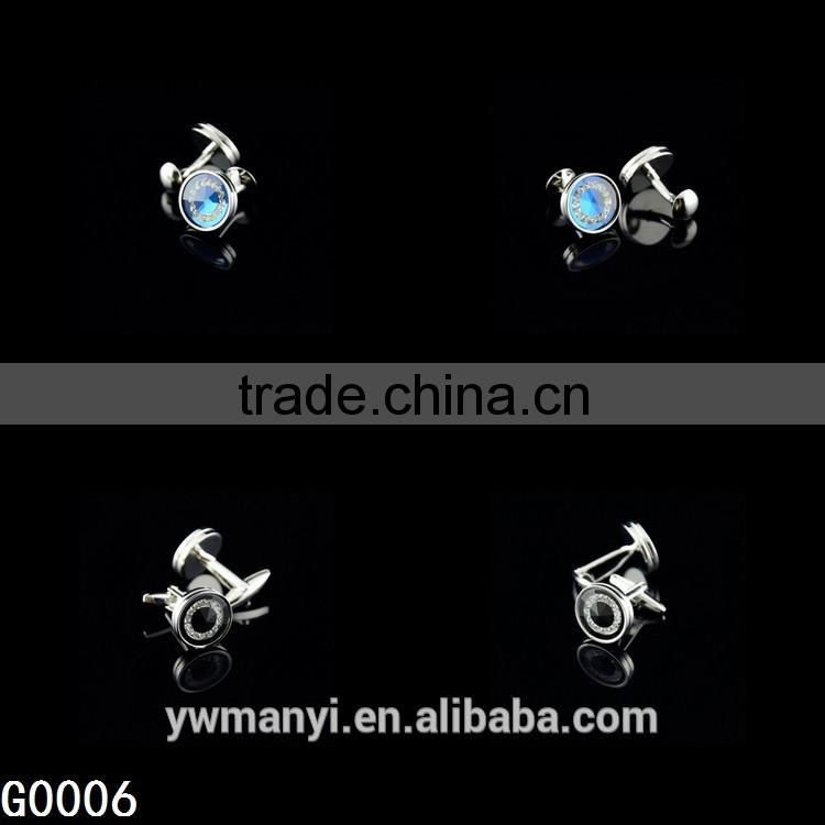 Fashion jewelry custom latest shirt designs blue rhinestone cufflink for men G0006
