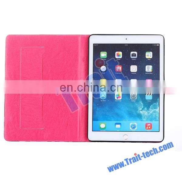 Colorized Grid Pattern Wallet Style Flip Stand TPU+PU Leather Case for iPad Air 2