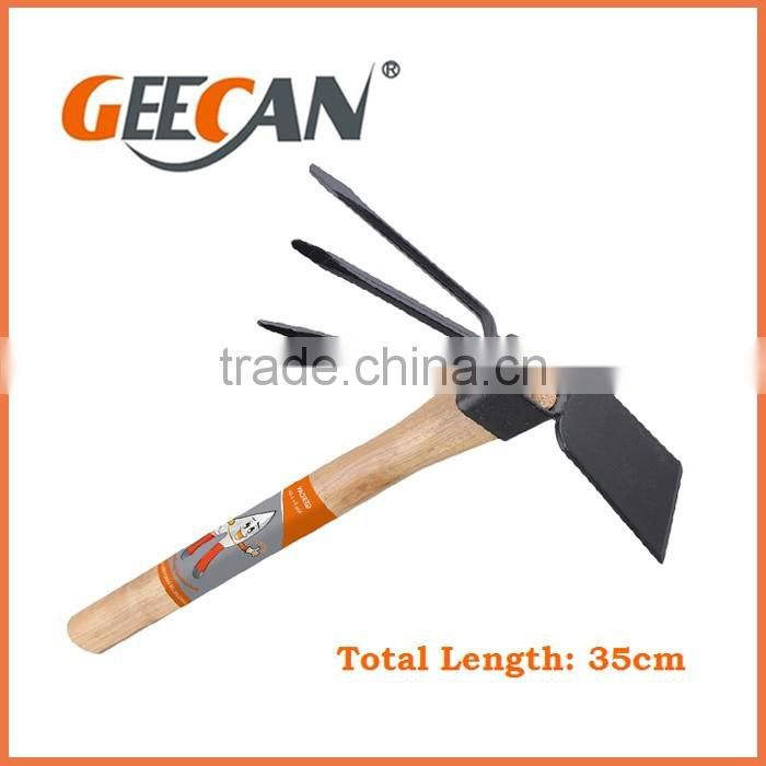 2016 hot sale carbon steel garden hand tool hoe with black coated