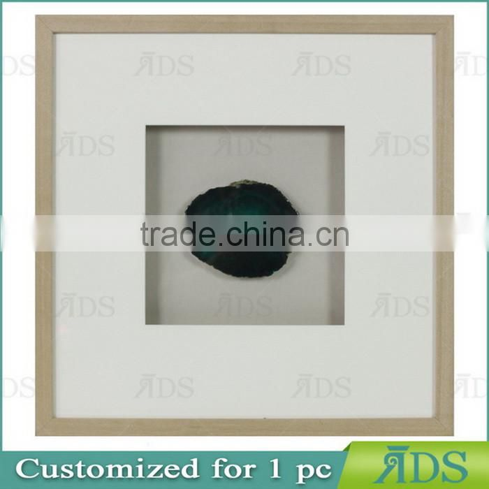 Shadow Box Picture Frame with Colorful Natural Agate Stone