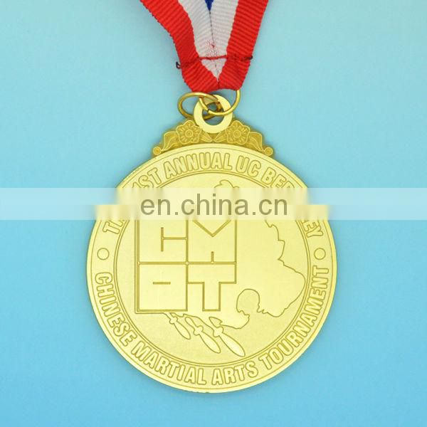 2015 free artwork gold metal sports customized medal with ribbon