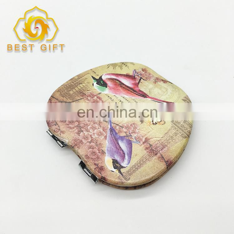 Custom Double Birds Printing On Leather Compact Mirror