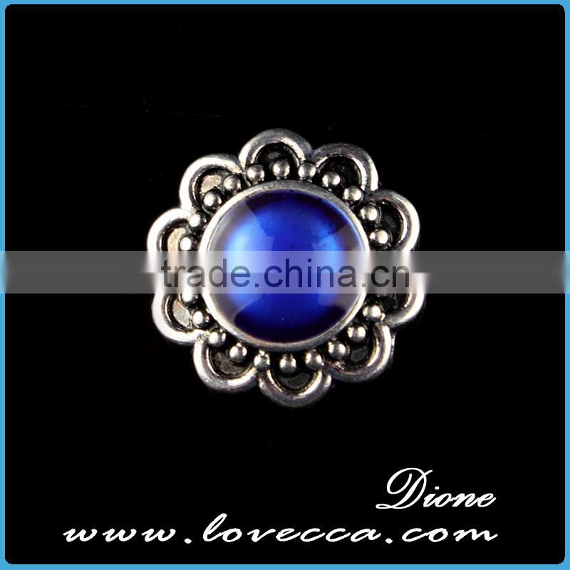 Aquamarine Crystal Button metal button snaps for leather bracelet