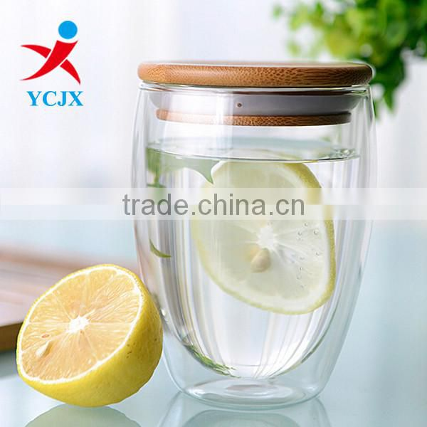 350ML Clear Double Wall Glass Tea Cup with Bamboo Lid