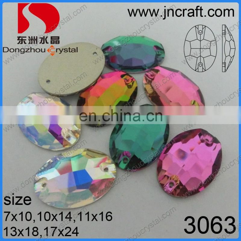 Wholesale oval shaped crystal sew-on rhinestones decorative for dresses