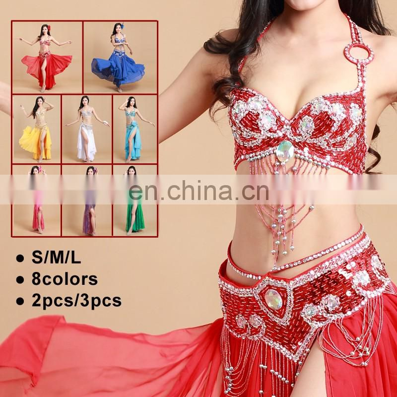 GT-1041 Hot selling tribal high handwork sequins tassel belly dance bra and belt set