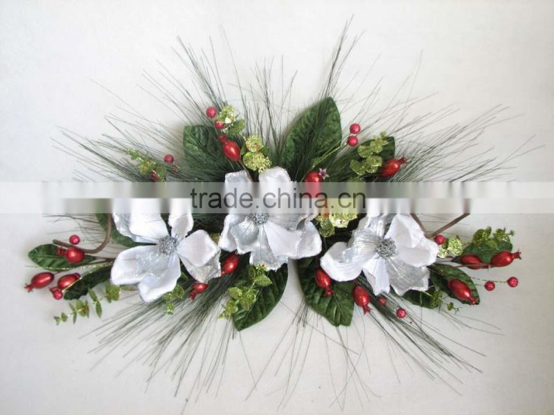 artificial flowers christmas wall hanging poppy decoration wreath