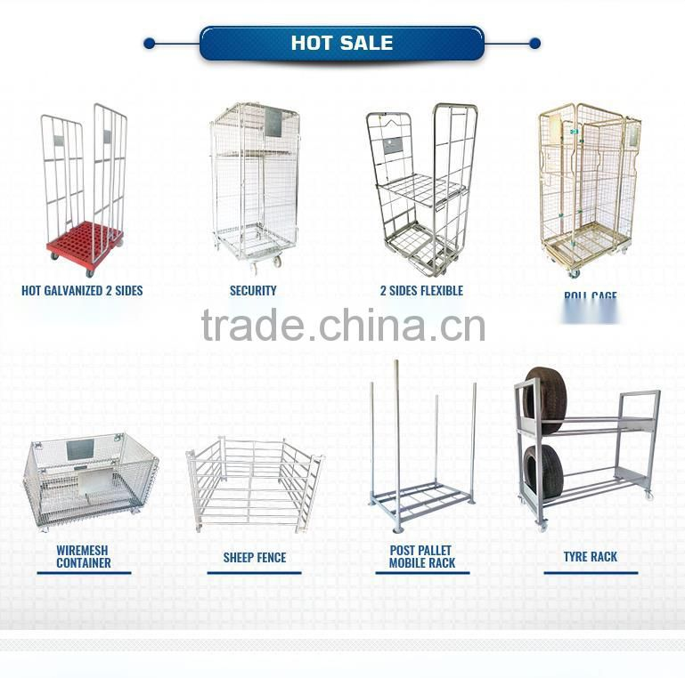 Warehouse logistics wiremesh container cages with wheels foldable mesh box pallet lockable storage cage