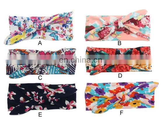 Flower Print Headband Baby Cotton Headwraps Bandanna Knotted Headwrap For Toddler Hair Accessory