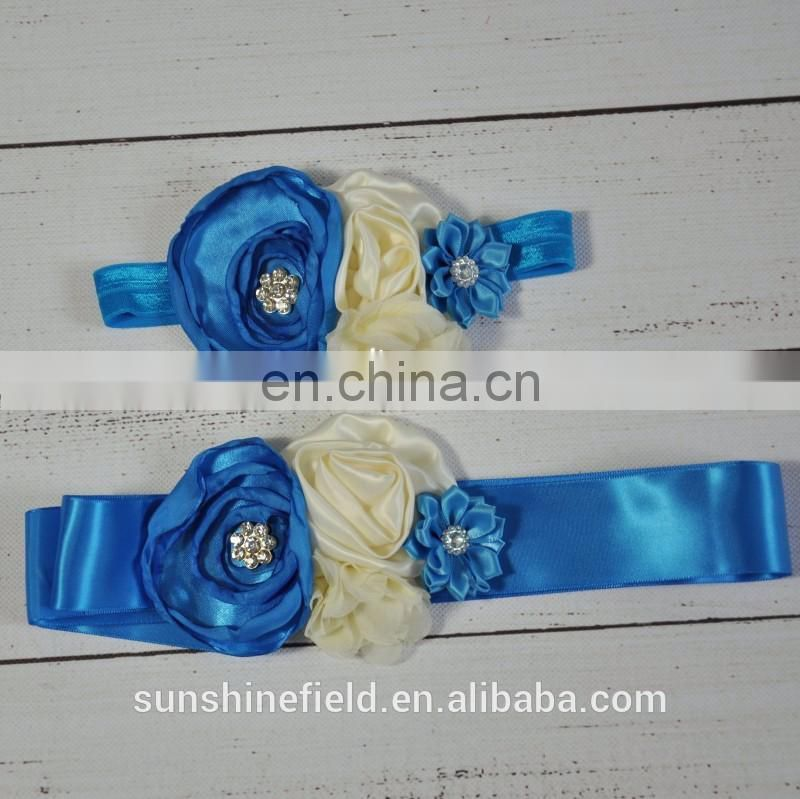Layered Flower Sash Matching Baby Headband Satin Flower Sash Belt Flower Girl Hair Accessories