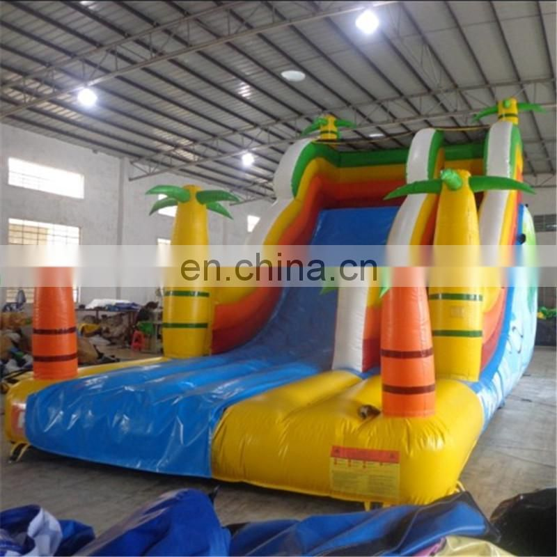 tropical jungle cheap slide palm coconut tree island inflatable cooler