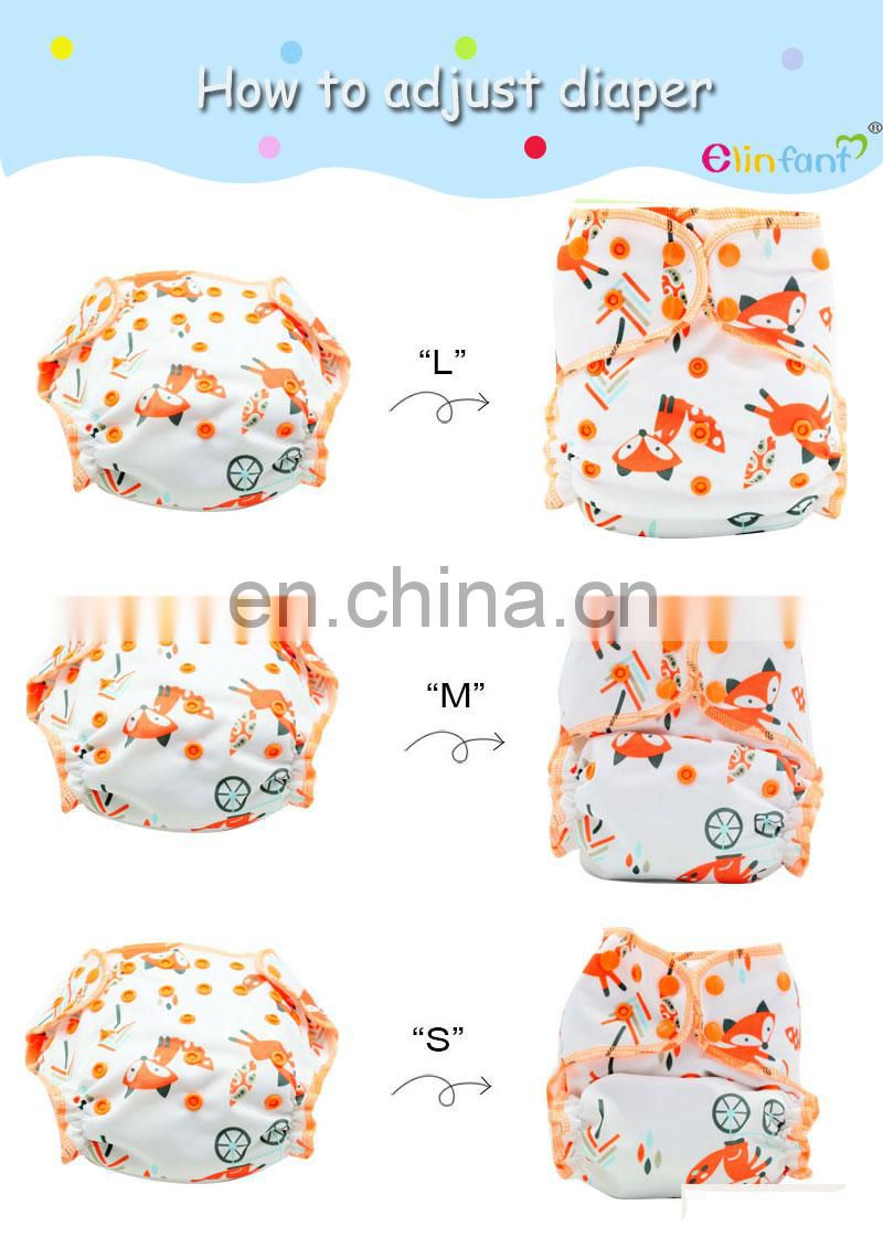 Elinfant OS heavy wetter AI2 baby diaper reusable hybird waterproof nappy washable fitted baby cloth diaper