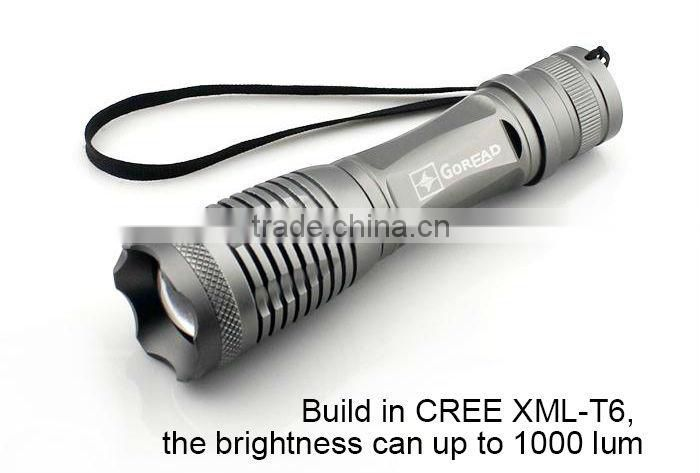 GOREAD Y19 silver aluminum T6 flashlight focusable rechargeable high bright 18650 led torch