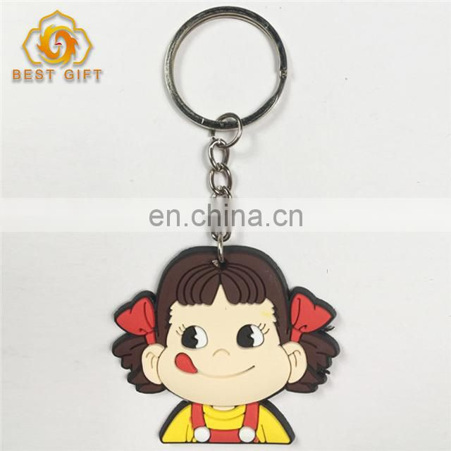 Hot Fashion PVC Cute Cartoon Girl Keychain