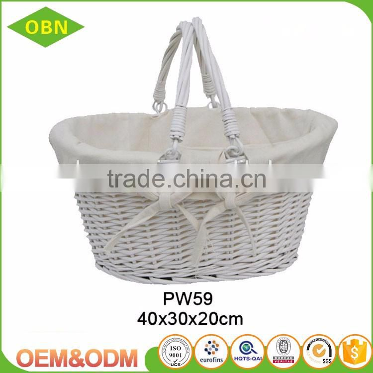 Wholesale China Flexible handles natural woven wicker shopping storage basket