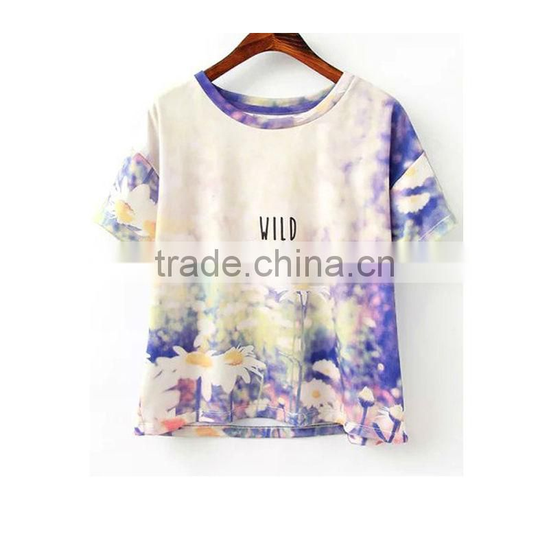 fashion flower print t-shirt short sleeve round neck t-shirt for ladies