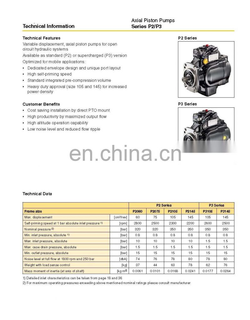 Parker P2/P3 series of P2060,P2075,P2105,P2145,P3075,P3105,P3145 hydraulic axial piston variable pumps