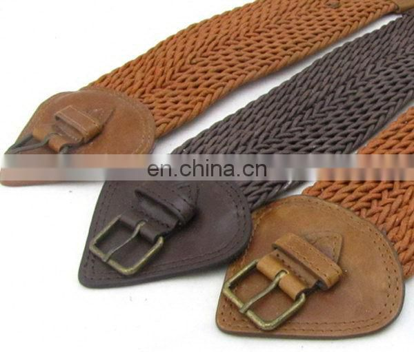 Fahion Elastic Braided Belt For Women Leather Bullet Belt