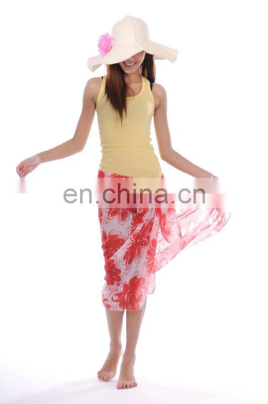 Flower printed red women sarong pareo beach scarf