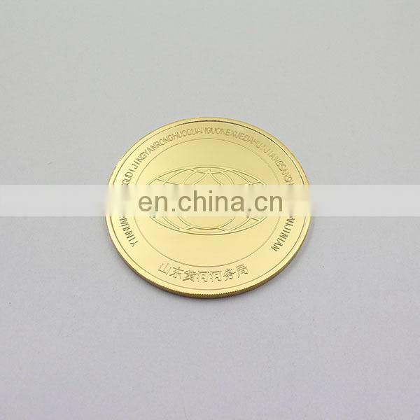 Inexpensive custom made engrave 24k gold plated coin