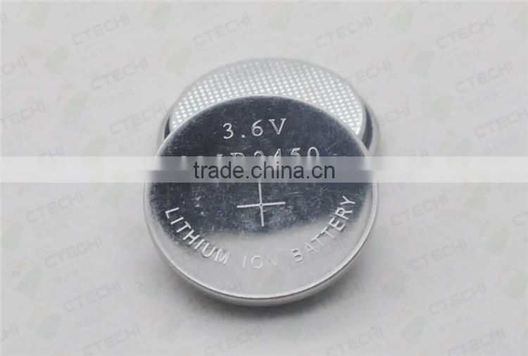 li ion 2450 litthium button cell with solder tabs lir2450 3.6v lithium ion button cell battery