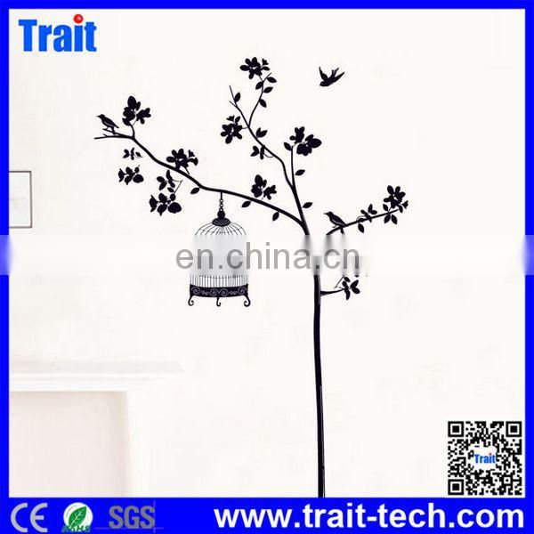 Popular Sweet Home Decoration Black Tree & Birdcage Room Wall Decal Stickers,Room Decor 3D Wall Stickers