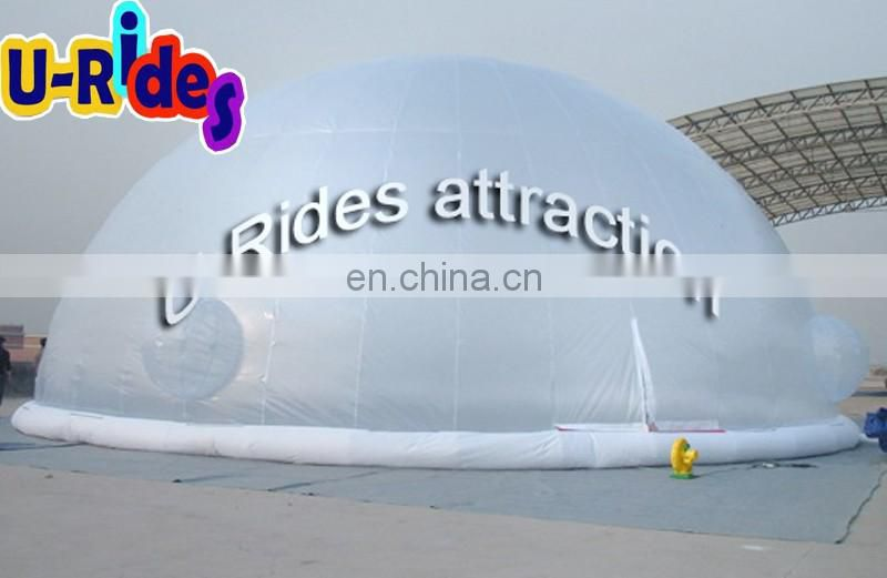Inflatable projection dome tent for exhibition