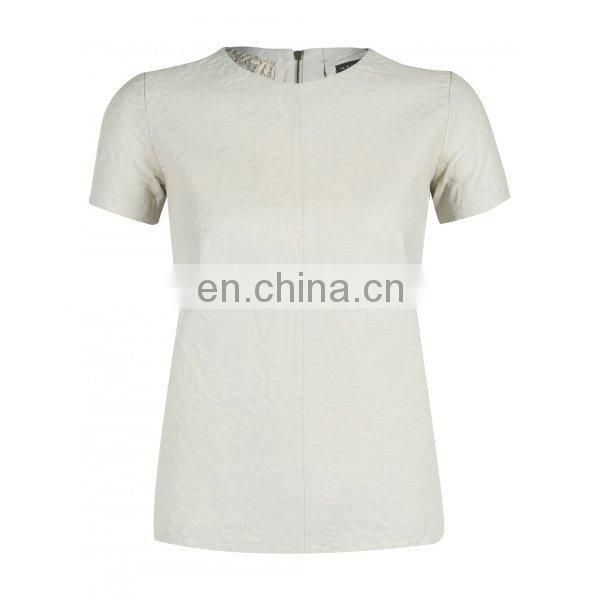 Women Leather shirts Half Sleeve cream color women T-shirt