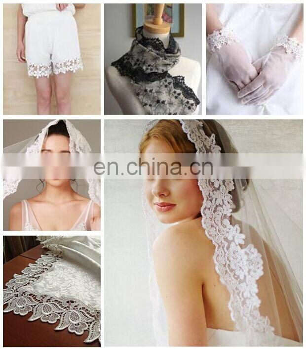 Big size trims 100% cotton material bulk lace fabric