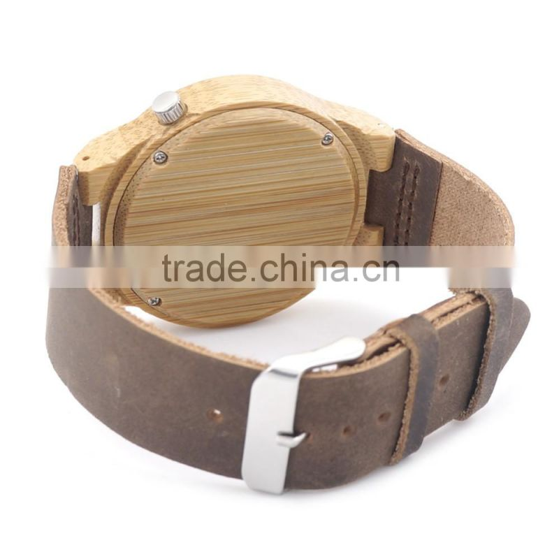 Unique Vogue Mens Quartz Watches Wooden Outdoor Sport Watches mens watch with Leather Strap Relojes Hombre 2016