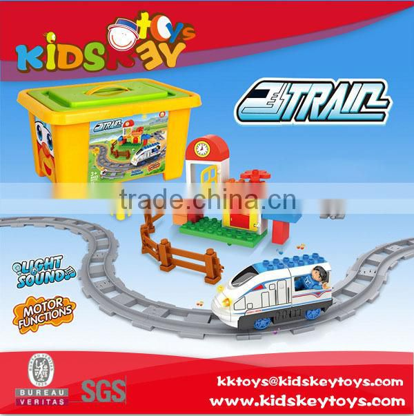 kids battery operated plastic train tracks toy electric train education toy Building Blocks